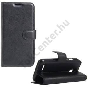 Alcatel Pixi 4 (3.5) (OT-4017) Tok álló, bőr (FLIP, oldalra nyíló, asztali tartó funkció) FEKETE