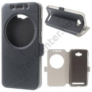 Asus Zenfone Max (ZC550KL) Tok álló, bőr (FLIP, oldalra nyíló, asztali tartó funkció, S-View Cover) FEKETE