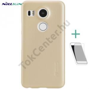 LG Nexus 5X (H791) NILLKIN SUPER FROSTED műanyag telefonvédő (gumírozott, érdes felület, képernyővédő fólia, tisztítókendő) ARANY
