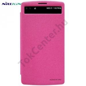 Univerzális NILLKIN SPARKLE műanyag telefonvédő (mikroszálas bőr flip, oldalra nyíló, S-View Cover) RÓZSASZÍN LG V10