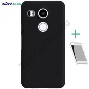 LG Nexus 5X (H791) NILLKIN SUPER FROSTED műanyag telefonvédő (gumírozott, érdes felület, képernyővédő fólia, tisztítókendő) FEKETE