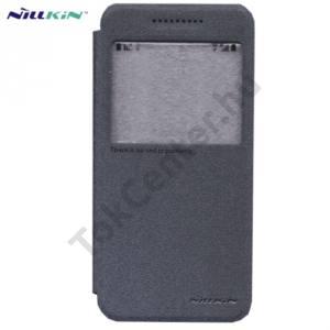 HTC One A9 NILLKIN SPARKLE műanyag telefonvédő (mikroszálas bőr flip, oldalra nyíló, hívószámkijelzés, S-View Cover) FEKETE