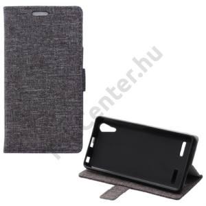 Lenovo A6000 Tok álló, bőr (FLIP, mágneses, oldalra nyíló, asztali tartó funkció, textil hatás) SZÜRKE