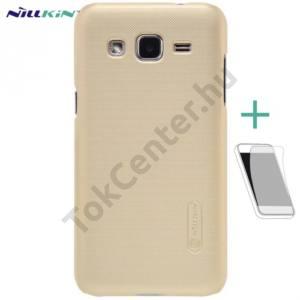 Samsung Galaxy J2 (SM-J200) NILLKIN SUPER FROSTED műanyag telefonvédő (gumírozott, érdes felület, képernyővédő fólia) ARANY