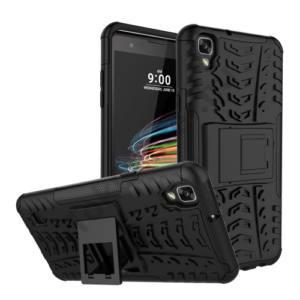 LG X Style Defender műanyag telefonvédő (közepesen ütésálló, gumi / szilikon belső, kitámasztó, autógumi minta) FEKETE