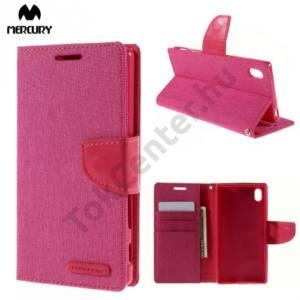 Sony Xperia Z5 MERCURY Canvas Diary tok álló (FLIP, mágneses, oldalra nyíló, asztali tartó funkció, textil hatás) RÓZSASZÍN
