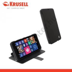 Microsoft Lumia 640 XL KRUSELL FlipWallet MALMÖ, műanyag telefonvédő (oldalra nyíló bőr flip, asztali tartó funkció, bankkáryta tartó) FEKETE