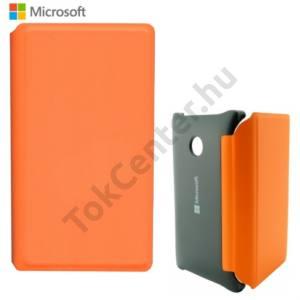 Microsoft Lumia 532 Műanyag telefonvédő (bőr flip, bankkártya tartó) NARANCS