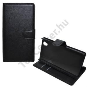 Lenovo P70 Tok álló, bőr (FLIP, mágneses, oldalra nyíló, bankkártya  tartó, asztali tartó funkció) FEKETE
