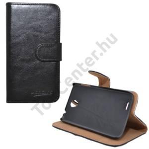 Lenovo A859 Tok álló, bőr (FLIP, mágneses, oldalra nyíló, bankkártya tartó, asztali tartó funkció) FEKETE