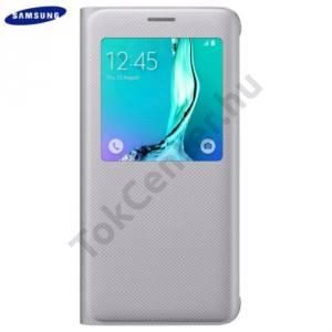 Samsung Galaxy S6 EDGE + (SM-G928) Tok álló, bőr (FLIP, oldalra nyíló, S-View Cover) EZÜST