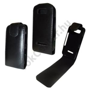 Nokia 305 Asha Tok álló, bőr (FLIP, mágneses) FEKETE