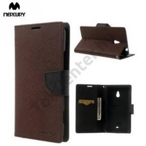 Nokia Lumia 1320 MERCURY Fancy Diary tok álló, bőr (FLIP, mágneses, oldalra nyíló, bankkártya tartó, asztali tartó funkció) BARNA