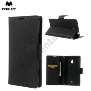 Nokia Lumia 1320 MERCURY Fancy Diary tok álló, bőr (FLIP, mágneses, oldalra nyíló, bankkártya tartó, asztali tartó funkció) FEKETE