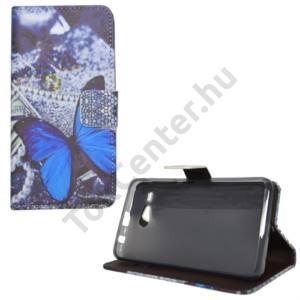 Acer Liquid Z520 Tok álló, bőr (FLIP, oldalra nyíló, asztali tartó funkció, kék pillangóminta) SZÜRKE