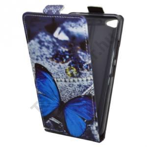 Lenovo S60 Tok álló, bőr (FLIP, oldalra nyíló, asztali tartó funkció, kék pillangóminta) SZÜRKE