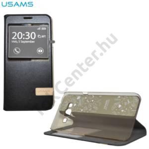 Samsung Galaxy A8 (SM-A800F) USAMS MUGE tok álló, bőr (FLIP, oldalra nyíló, asztali tartó funkció, View Window) FEKETE