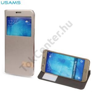 Samsung Galaxy A8 (SM-A800F) USAMS MUGE tok álló, bőr (FLIP, oldalra nyíló, asztali tartó funkció, View Window) ARANY