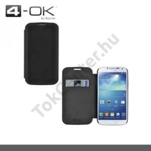Samsung Galaxy S IV. (GT-I9500) 4-OK tok álló, bőr (FLIP, oldalra nyíló, bankkártya tartó) FEKETE