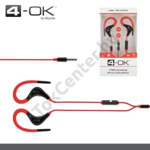 4-OK james bond SZTEREO (SPORT, 3.5 mm, felvevő gomb, mikrofon, fülre akasztható, 50 cm hoszabbító kábel) PIROS