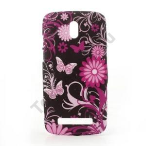 HTC Desire 500 Műanyag telefonvédő (pillangó, virágmintás) FEKETE