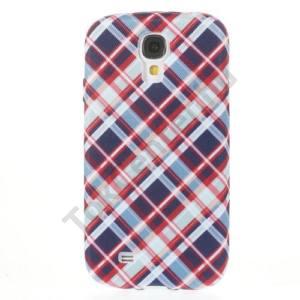 Samsung Galaxy S IV. (GT-I9500) Telefonvédő gumi / szilikon (textillel bevont, kockás) KÉK/PIROS