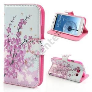 Samsung Galaxy S III. (GT-I9300) Tok álló, bőr (FLIP, mágneses, oldalra nyíló, bankkártya tartó, asztali tartó funkció) VIRÁGMINTA