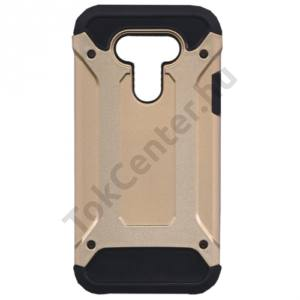 LG G5 (H850) Defender műanyag telefonvédő (közepesen ütésálló, gumi / szilikon belső, fémhatás) ARANY