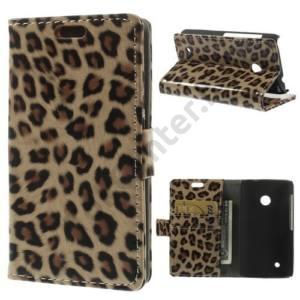 Nokia Lumia 530 Tok álló, bőr (FLIP, mágneses, oldalra nyíló, bankkártya tartó, asztali tartó funkció) LEOPÁRDMINTÁS