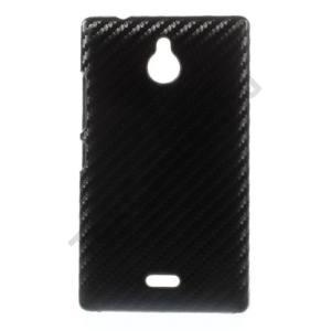 Nokia X2 Dual SIM (2014) Műanyag telefonvédő (karbon minta) FEKETE