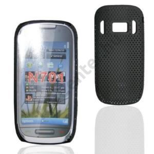 Nokia 701 Műanyag telefonvédő lyukacsos FEKETE