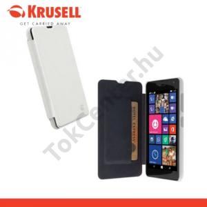 Microsoft Lumia 535 KRUSELL FlipCover BODEN műanyag telefonvédő (FLIP, átlátszó hátlap, oldalra nyíló) FEHÉR