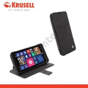 Microsoft Lumia 535 KRUSELL FlipCase MALMÖ műanyag telefonvédő (mágneses, oldalra nyíló bőr flip) FEKETE