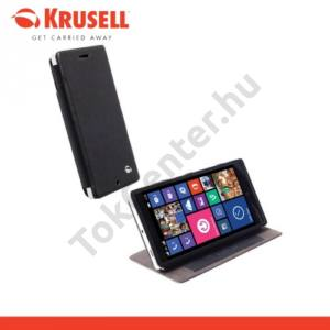 Nokia Lumia 830 KRUSELL FlipCase MALMÖ, műanyag telefonvédő (oldalra nyíló bőr flip, asztali tartó funkció, bankkáryta tartó) FEKETE