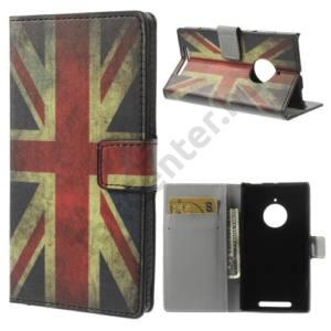 Nokia Lumia 830 Tok álló, bőr (FLIP, mágneses, oldalra nyíló, bankkártya tartó, asztali tartó funkció, zászlóminta) BRIT/ANGOL