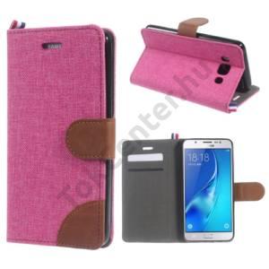 Samsung Galaxy J5 (2016) (SM-J510) Tok álló, bőr (FLIP, oldalra nyíló, asztali tartó funkció, textil hatás) RÓZSASZÍN/BARNA