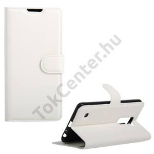 LG Stylus 2 (F720) Tok álló, bőr (FLIP, oldalra nyíló, asztali tartó funkció) FEHÉR