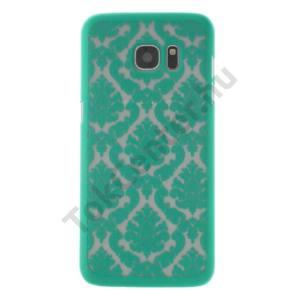Samsung Galaxy S7 EDGE (SM-G935) Műanyag telefonvédő (damaszkuszi virágminta) CYAN