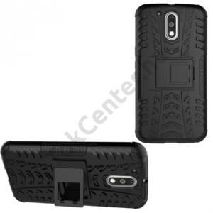 Defender műanyag telefonvédő (közepesen ütésálló, gumi / szilikon belső, kitámasztó, autógumi minta) FEKETE