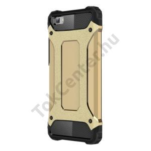 Huawei P8 lite Defender műanyag telefonvédő (közepesen ütésálló, gumi / szilikon belső, fémhatás) ARANY