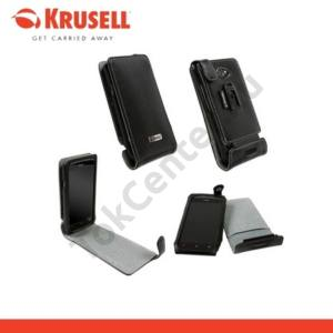 HTC One S (Z520e) KRUSELL ORBIT FLEX álló bőrtok (övcsipesz) FEKETE/SZÜRKE