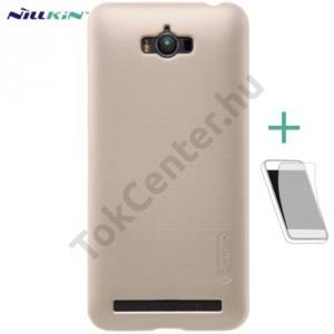 Asus Zenfone Max (ZC550KL) NILLKIN SUPER FROSTED műanyag telefonvédő (gumírozott, érdes felület, képernyővédő fólia, tisztítókendő) ARANY
