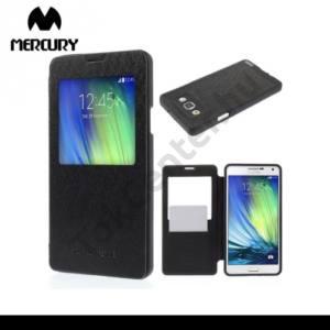 Samsung Galaxy A7 (SM-A700F) MERCURY Wow Bumper tok álló, bőr (FLIP, oldalra nyíló, S-View cover, textilminta) FEKETE