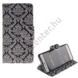 Huawei P9 lite Tok álló, bőr (FLIP, oldalra nyíló, asztali tartó funkció, damaszkuszi virágminta) BARNA