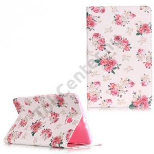 Samsung Galaxy Tab E 9.6 3G / WIFI Tok álló, bőr (FLIP, oldalra nyíló, bankkártya tartó, asztali tartó funkció, rózsaminta) FEHÉR