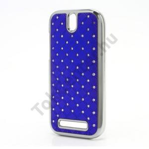 HTC One SV (C525e) Műanyag telefonvédő (strasszkő) KÉK