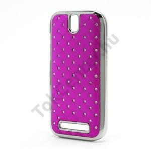 HTC One SV (C525e) Műanyag telefonvédő (strasszkő) RÓZSASZÍN