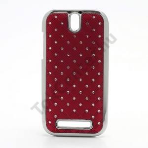 HTC One SV (C525e) Műanyag telefonvédő (strasszkő) PIROS
