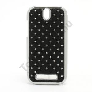 HTC One SV (C525e) Műanyag telefonvédő (strasszkő) FEKETE