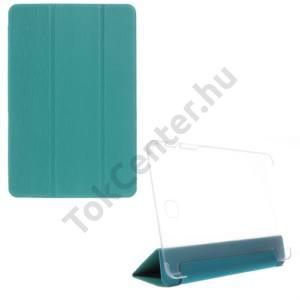Samsung Galaxy Tab A 8.0 (SM-T350) Műanyag telefonvédő (FLIP, bőrhátlap, oldalra nyíló, TRIFOLD asztali tartó funkció, kéregminta) KÉK